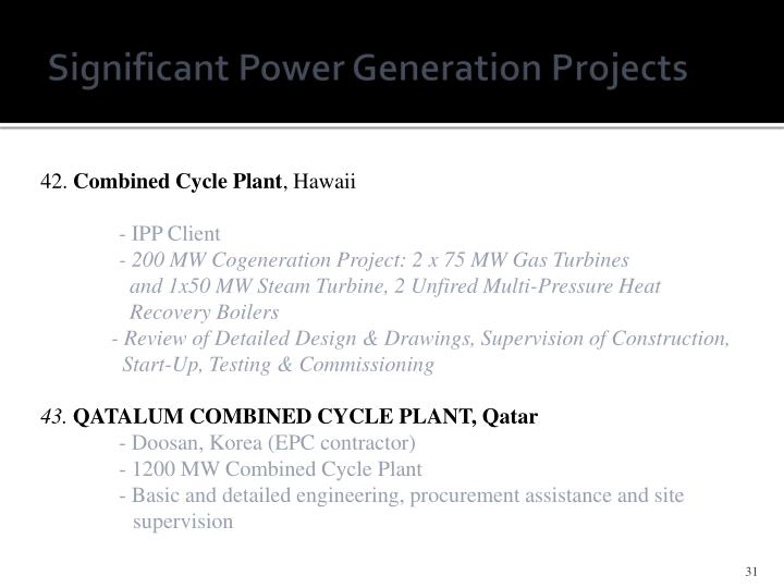 Significant Power Generation Projects