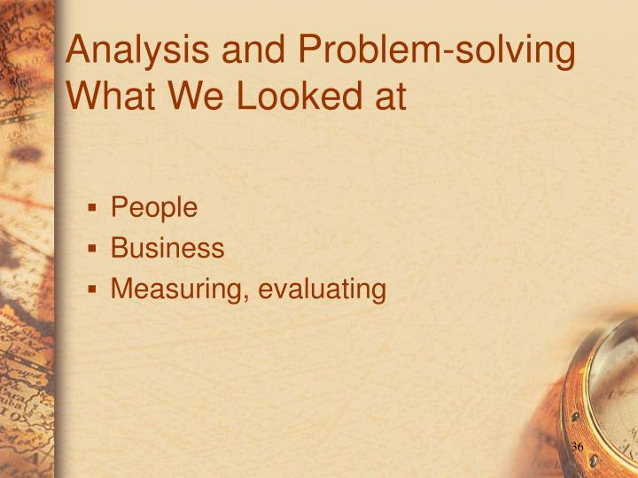 Analysis and Problem-solving