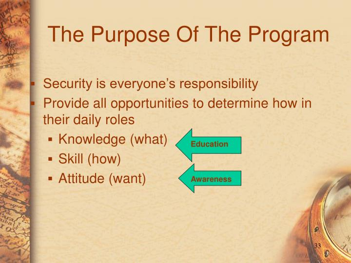 The Purpose Of The Program