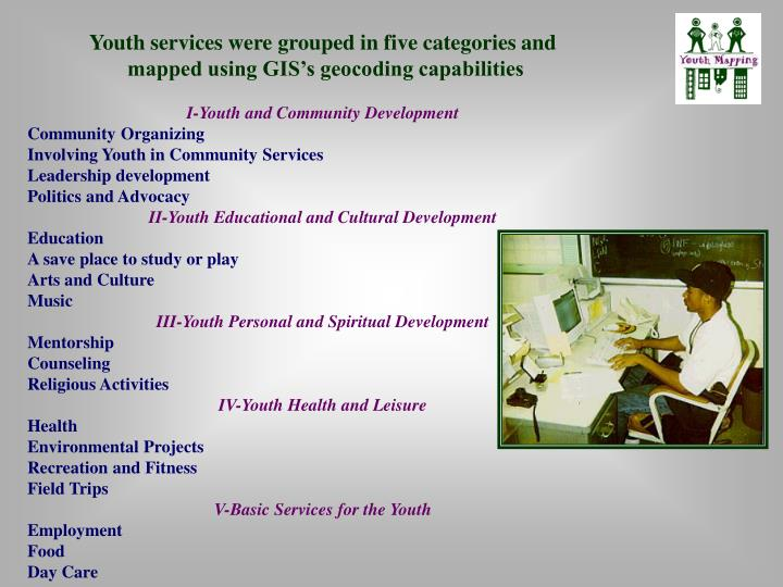 Youth services were grouped in five categories and