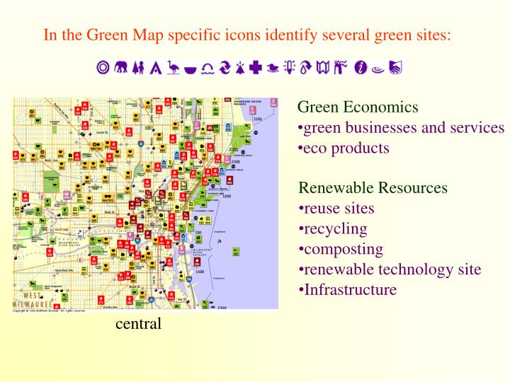 In the Green Map specific icons identify several green sites: