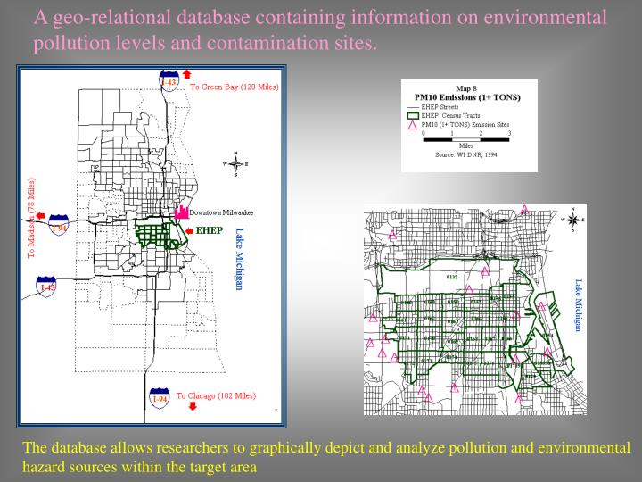 A geo-relational database containing information on environmental pollution levels and contamination sites.