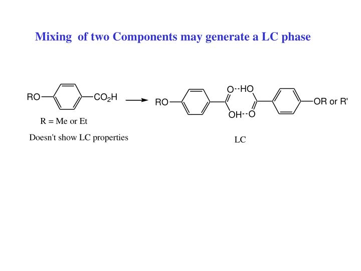 Mixing  of two Components may generate a LC phase