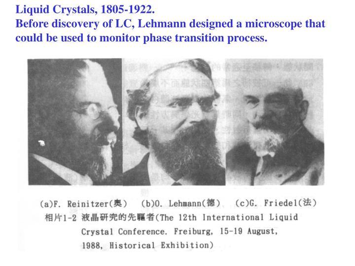 Liquid Crystals, 1805-1922.