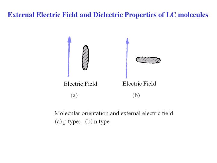 External Electric Field and Dielectric Properties of LC molecules