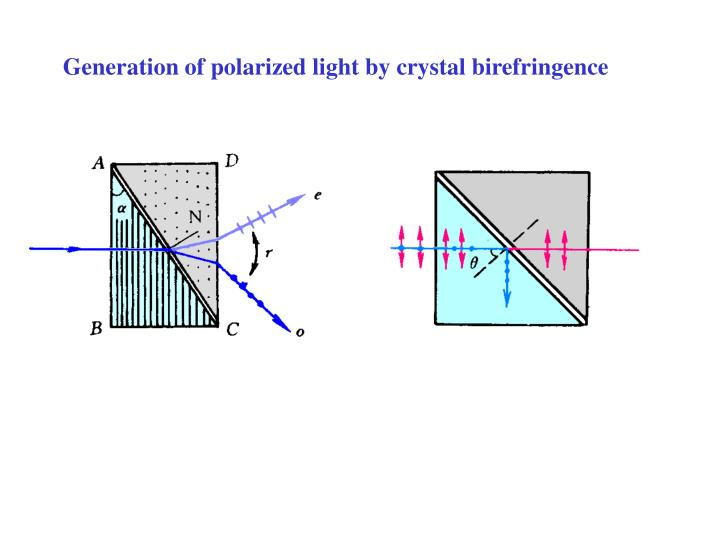 Generation of polarized light by crystal birefringence