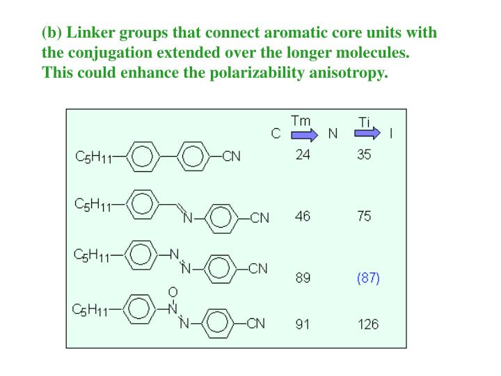 (b) Linker groups that connect aromatic core units with the conjugation extended over the longer molecules.  This could enhance the polarizability anisotropy.