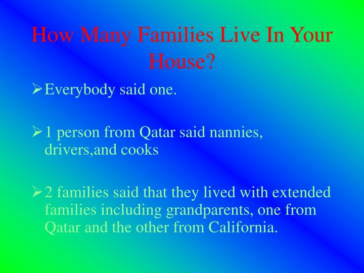 How Many Families Live In Your House?