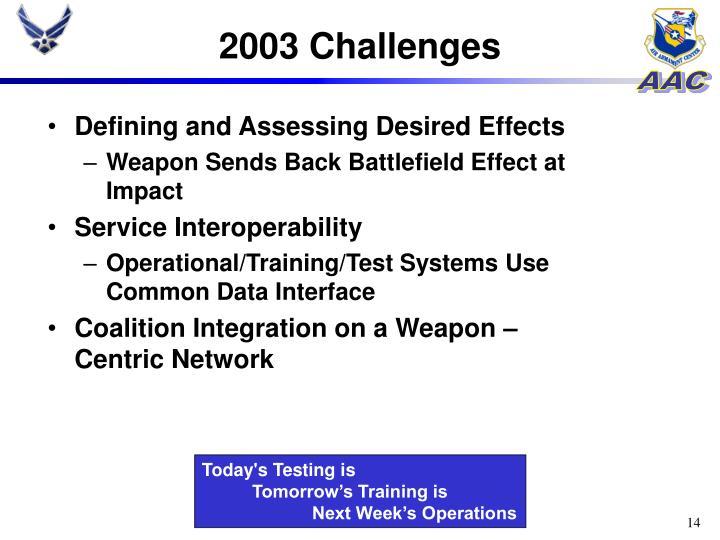 2003 Challenges