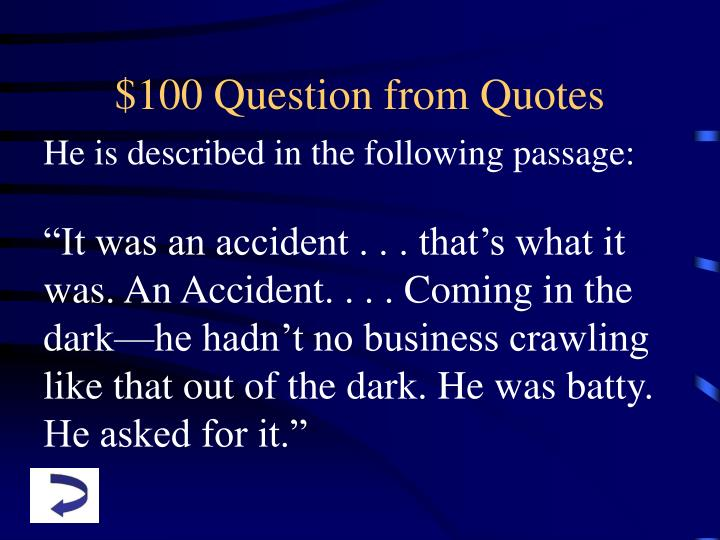 $100 Question from Quotes