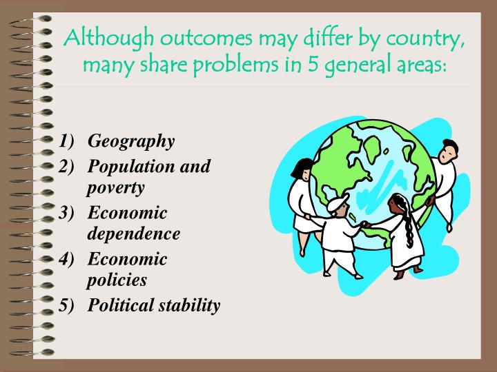 Although outcomes may differ by country, many share problems in 5 general areas: