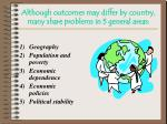 although outcomes may differ by country many share problems in 5 general areas