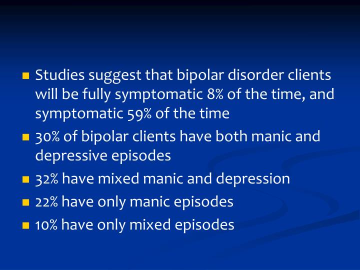 Studies suggest that bipolar disorder clients will be fully symptomatic 8% of the time, and symptomatic 59% of the time