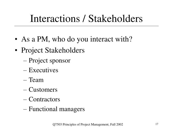Interactions / Stakeholders