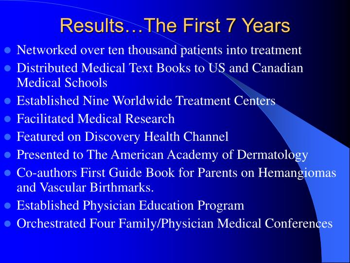 Results…The First 7 Years