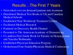 results the first 7 years