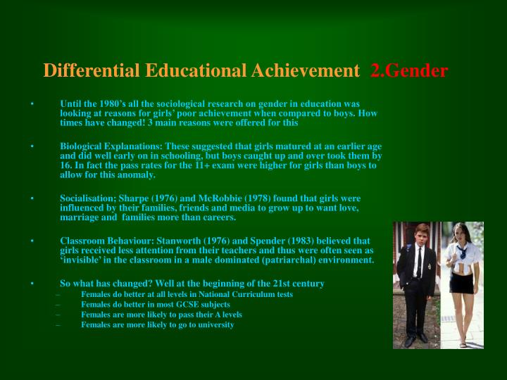differential educational achievement 2 gender
