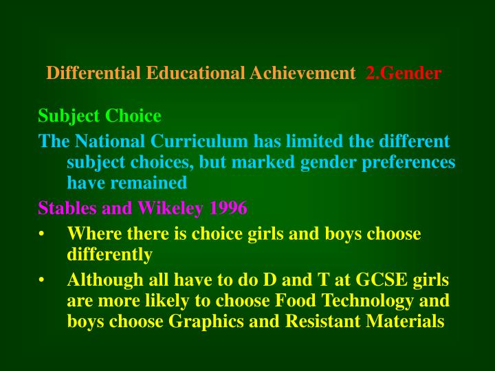 Differential Educational Achievement