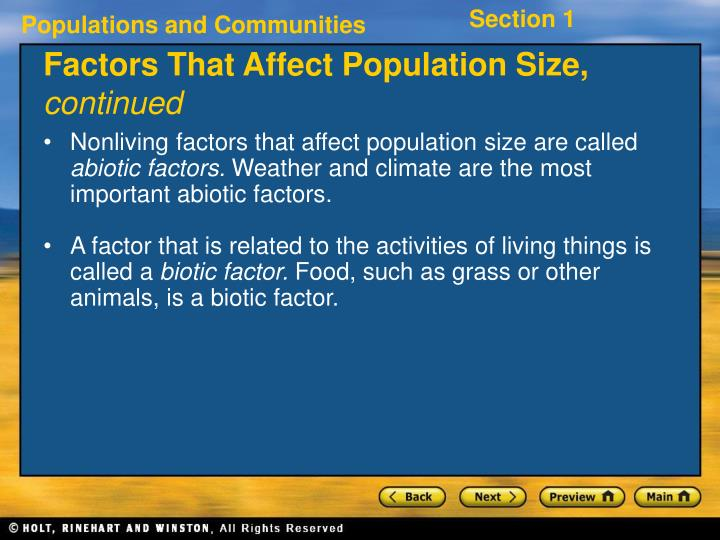 Factors That Affect Population Size,