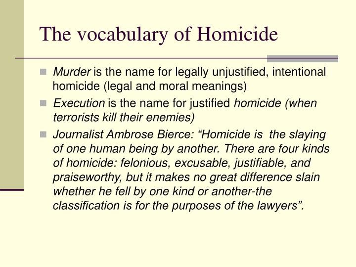 The vocabulary of Homicide