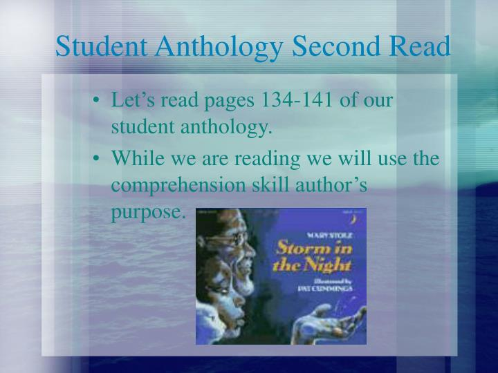 Student Anthology Second Read