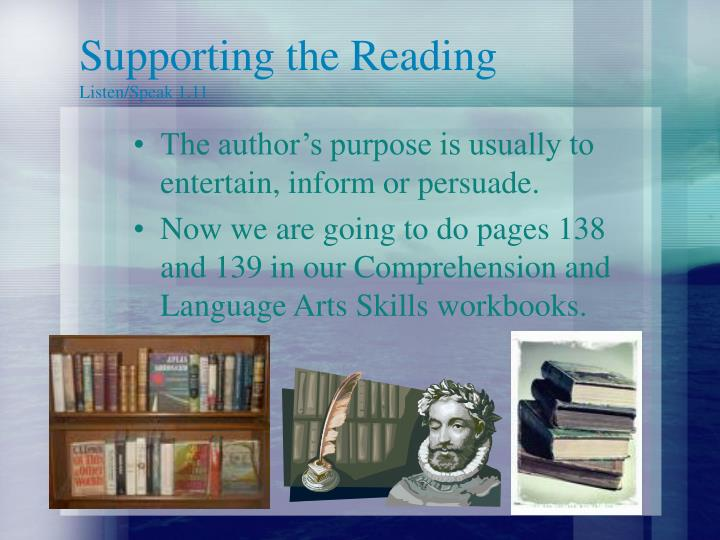 Supporting the Reading