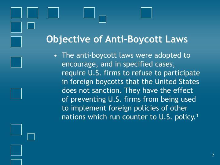 Objective of Anti-Boycott Laws
