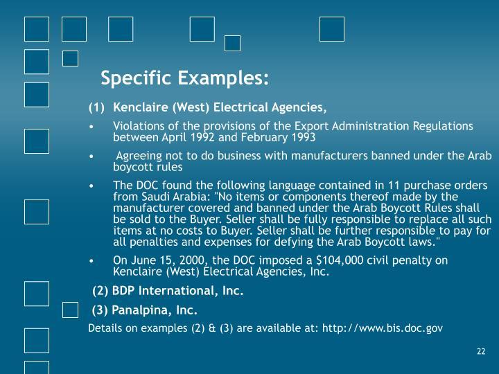 Specific Examples:
