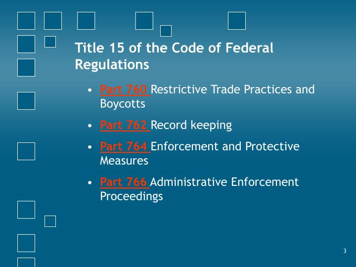 Title 15 of the Code of Federal Regulations