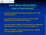 how does rating affect cost of borrowing
