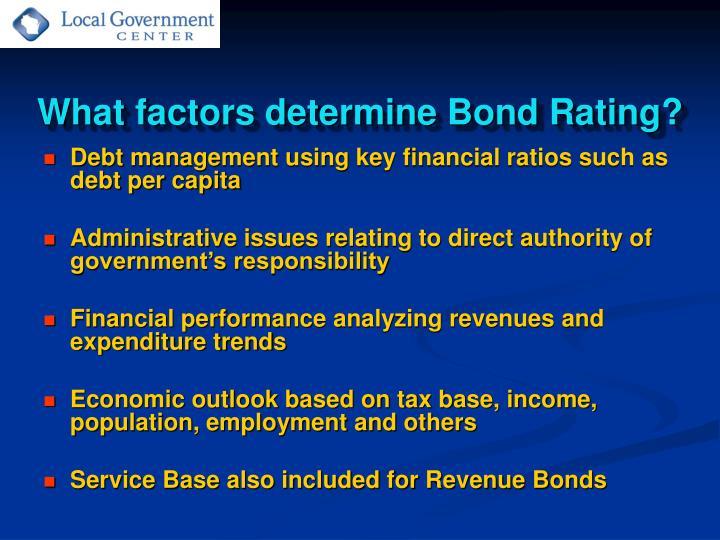 What factors determine Bond Rating?