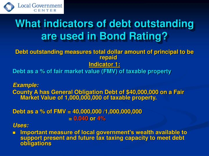 What indicators of debt outstanding are used in Bond Rating?