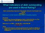 what indicators of debt outstanding are used in bond rating