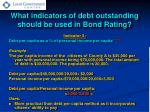 what indicators of debt outstanding should be used in bond rating1