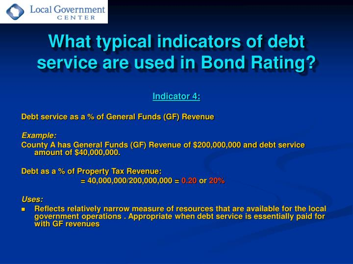 What typical indicators of debt service are used in Bond Rating?