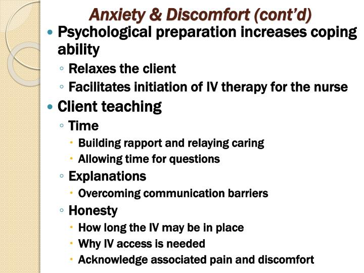 Anxiety & Discomfort (cont'd)
