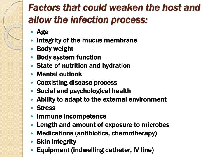 Factors that could weaken the host and allow the infection process: