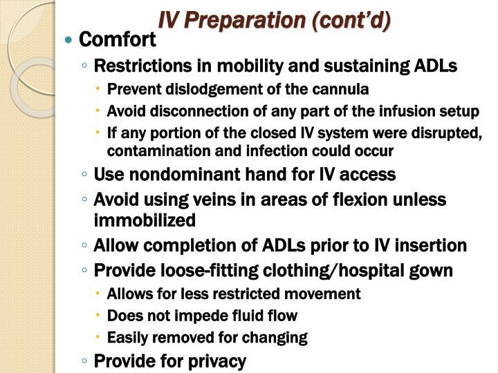 IV Preparation (cont'd)
