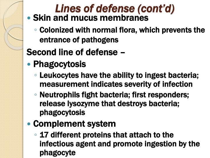Lines of defense (cont'd)