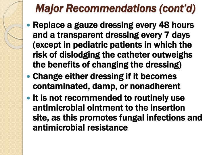 Major Recommendations (cont'd)
