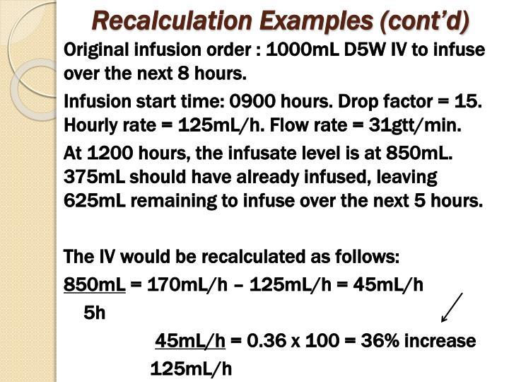 Recalculation Examples (cont'd)