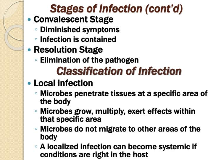 Stages of Infection (cont'd)