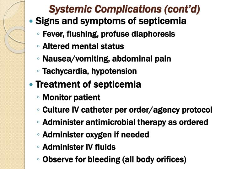 Systemic Complications (cont'd)