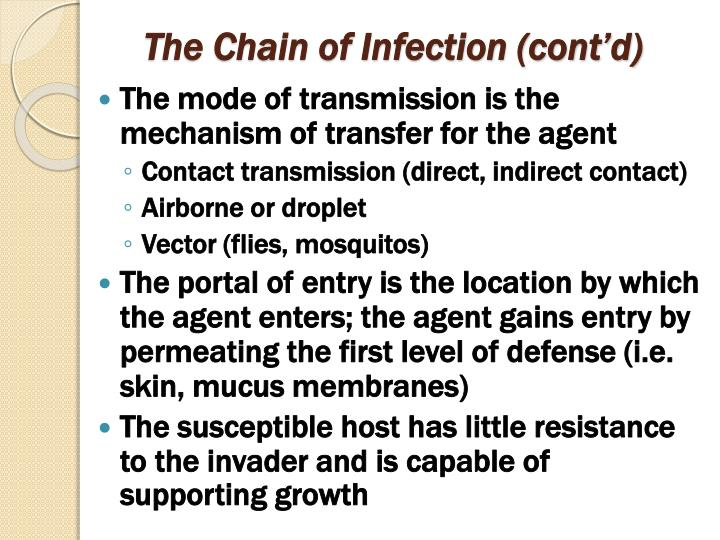 The Chain of Infection (cont'd)