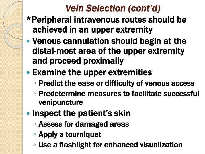 Vein Selection (cont'd)