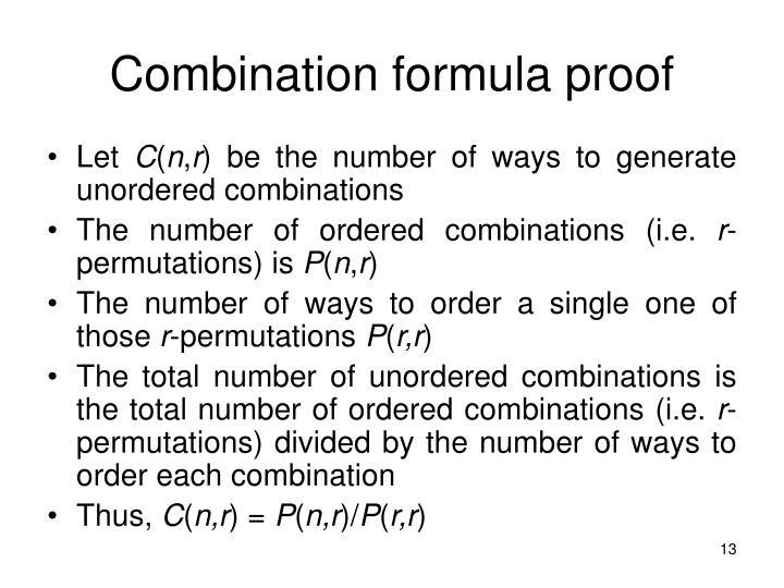 Combination formula proof
