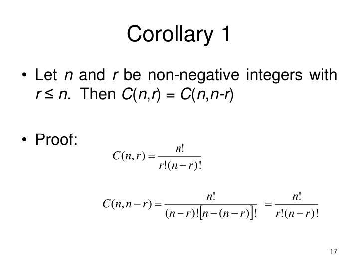 Corollary 1