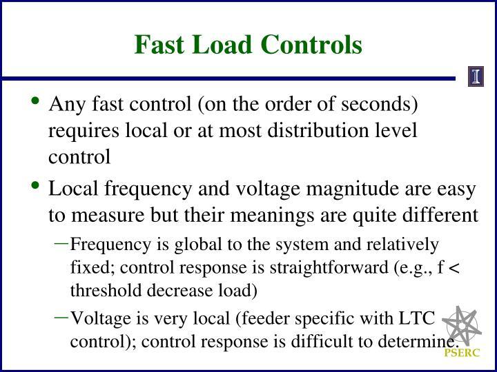 Fast Load Controls