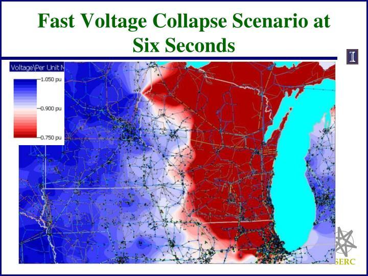 Fast Voltage Collapse Scenario at Six Seconds