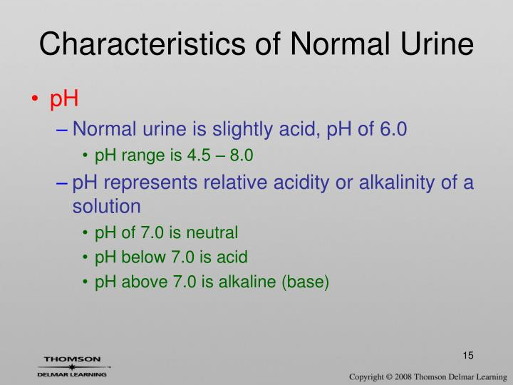 Characteristics of Normal Urine